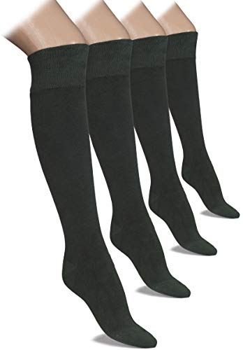 (Hugh Ugoli 4 Pairs Bamboo Women's Knee High Socks (Dark Forest Green, Shoe size: 8-11) )