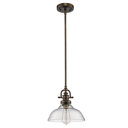 Rubbed Bronze Bowl Pendant (Acclaim Lighting IN21147ORB Virginia Indoor 1-Light Mini Pendant with Glass Shade, Oil Rubbed Bronze)