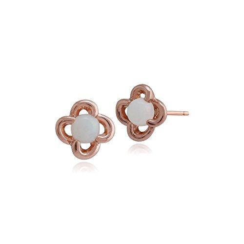 Gemondo 9ct Or Rose Opale Floral Clous D'oreilles & Bague Parure