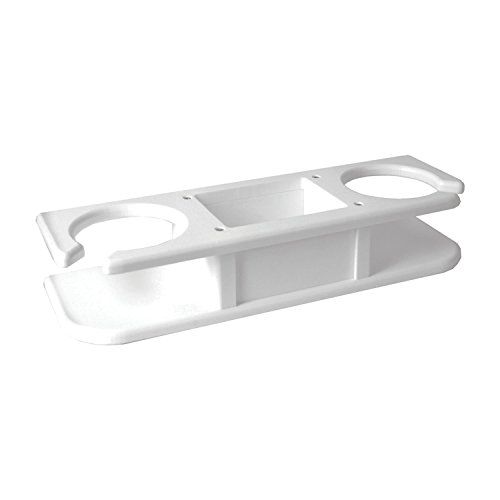 "TACO 2-Drink Poly Cup Holder w/""Catch-All"" - White"