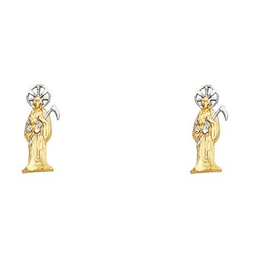 Paradise Jewelers 14K Yellow Gold 4mm Santa Muerte Post Earring ()