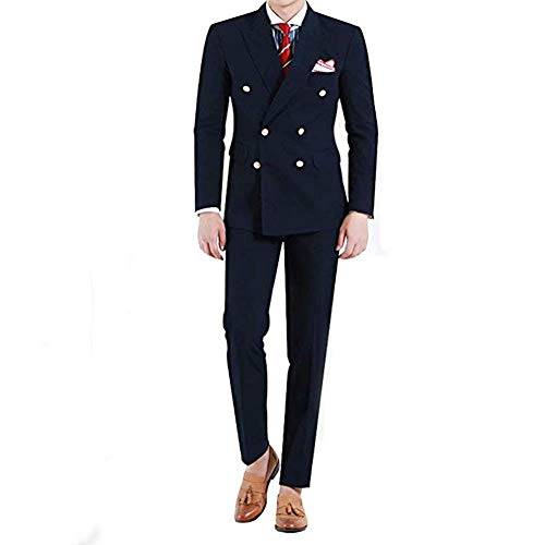 Onlylover Men's 2 Piece Suits Double Breasted Slim Fit Formal Wedding Prom Tuxedo(Navy Blue,L)