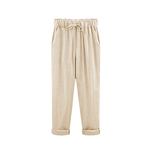 a8b2512c1e7a8 fereshte Women s Elastic Waist Cotton Linen Ankle Length Ninth Pants Loose  Trousers with Drawstring