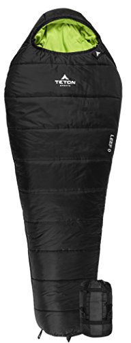 TETON Sports LEEF Lightweight Scout Mummy Sleeping Bag; Great for Hiking, Backpacking and Camping; Free Compression Sack: Black ()