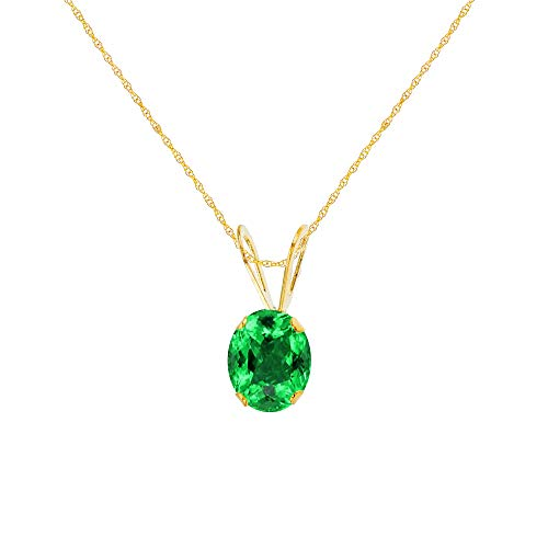 Emerald Pendant Created Oval - Genuine 10K Solid Yellow Gold 7x5mm Oval Created Emerald 18