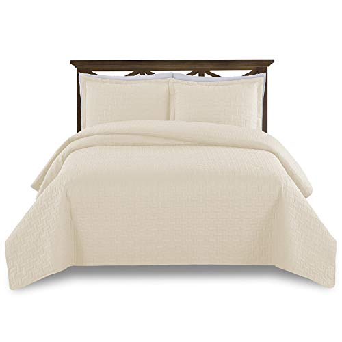 Comfy Basics Prime Bedding Manchester 3-piece Oversized Quilted Bedspread Coverlet Set, Ivory, Queen
