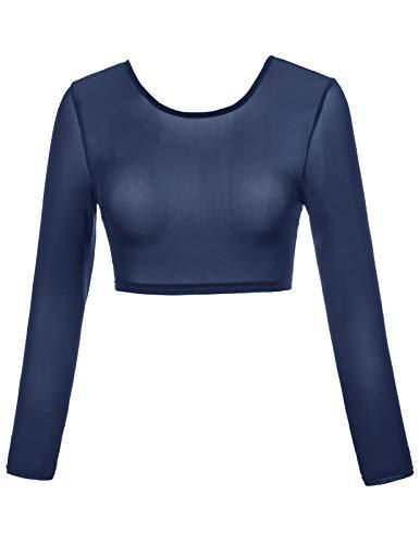 - Kate Kasin Women's Summer Sexy Long Sleeve Crop Top Blouses (M,0899,Navy)