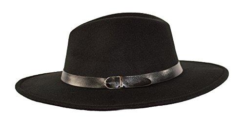 MWS Wide Brimmed Gangster Fedora w/Buckle Hatband, Large Felt Flat Brim Panama Hat (Black)