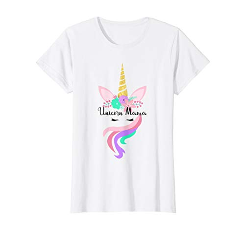 (Womens Unicorn Mama Unicorn Face Floral T Shirt Cute Gift for Mom)