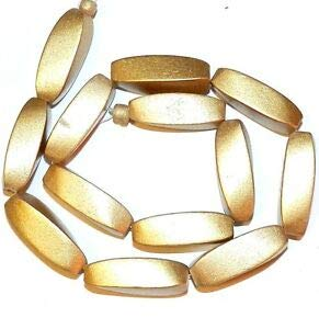 (Steven_store W321 Gold Metallic 30mm 4-Sided Twisted Oval Wood Beads 15
