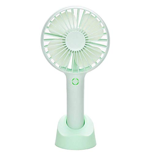 YIHUNION Mini Handheld Fan Portable, USB Rechargeable Battery Powered Fan with Base, 2500mAh Battery,4 Modes for Home Office Bedroom and Outdoor Travel(Green)