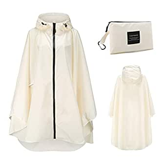 Zalaxy Womens Hooded Zip Up Waterproof Raincoats Lightweight Poncho with Pockets Outdoors (Beige)