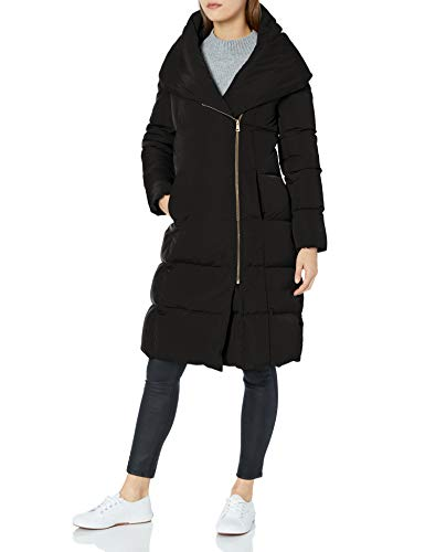 Cole Haan Women's Taffeta Down Double Breasted Zip Front Coat, Black, L (Cole Haan Signature Hooded Down Puffer Coat)