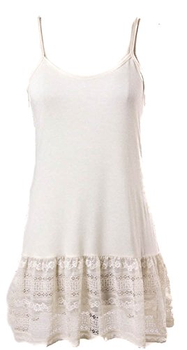 Ruffled Lace Bottom (Eikosi Women's Cami Top Extender with Ruffled Vertical Lace Bottom Off-White)