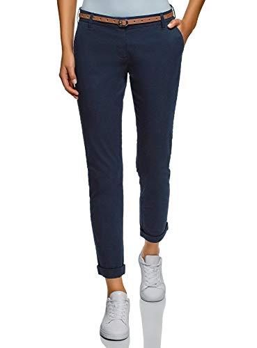 oodji Ultra Women's Belted Chino Pants, Blue, 2 ()