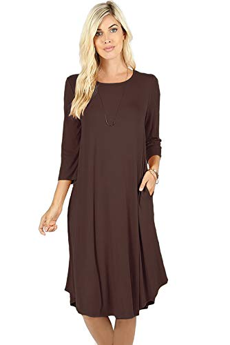 Curved Hem Solid Brown S Midi 4 3 3X Pocket Ami Dress 12 Sleeve HqOEFF