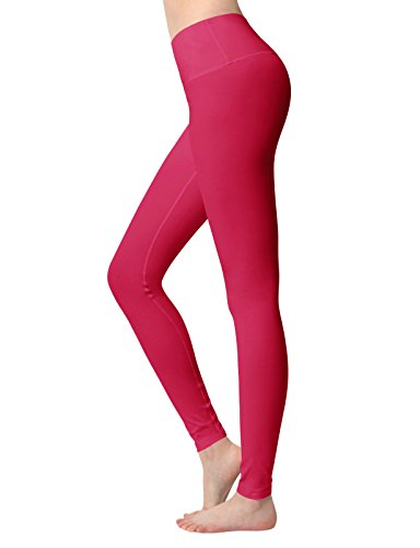 ACTICLO Yoga Pants High Waist Tummy Control Workout Running Tights w Hidden Pocket for Women's Fuchsia XX-Large