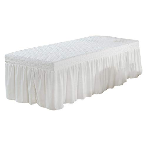 B Blesiya 75x27 inch Microfiber Beauty Thickening Massage Table Skirt Bed Cover Solid Color - White ()
