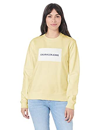 Calvin Klein Jeans Women's Institutional Logo Crew Neck Sweater, Anise Flower/Bright White, XS