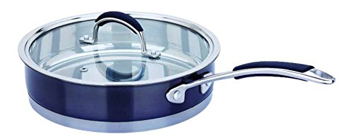 Dell'Arte Luxury Collection Stainless Steel Frypan with Lid, 2.4 QT