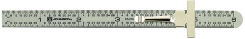 "Johnson Level & Tool # 7203 Stainless Steel Pocket Rule with inch 1/64""and mm/metric graduations"