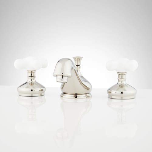 Signature Hardware 433142 Teapot 1.2 GPM Widespread Bathroom Faucet with Porcelain Cross Handles and Pop-up Drain Assembly - No Overflow