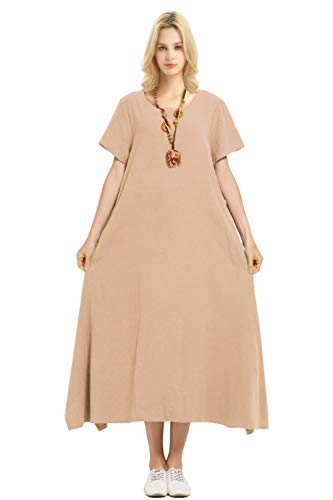 Jersey Slub Drape - Anysize Linen Cotton Soft Loose Spring Summer Dress Plus Size Clothing F126A, Camel, 5X Plus