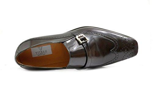 Men's VITELO Semi-Brogue Polished Leather Slip-On Shoes 144-45 Brown XPsrAuDu