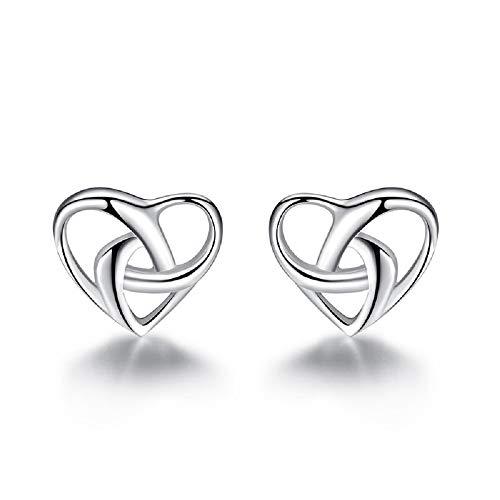 (925 Sterling Silver Love Knot Heart Stud Earrings for Women Girls Hypoallergenic Tiny Cute Wedding)
