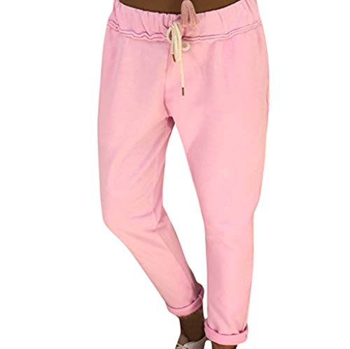 TIANMI Women's Casual Style Long Leggings Loose Sports Yoga Pants Long Jogging Pants Pink ()
