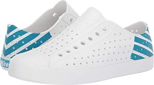 Native Shoes Unisex Jefferson Shell White/Shell White/Ultra Blue Glow Block 12 Women / 10 Men M US ()