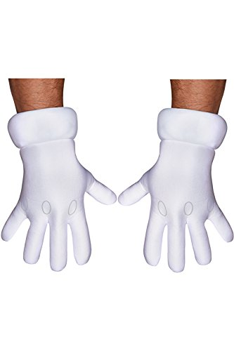 Disguise Men's Nintendo Super Mario Brothers Adult Gloves Costume Accessory, White, One Size -