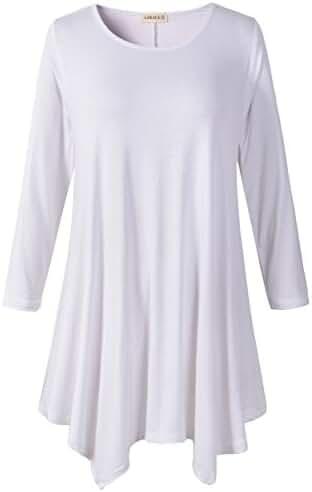 Lanmo Women Plus Size 3/4 Sleeve Tunic Tops Loose Basic Shirt
