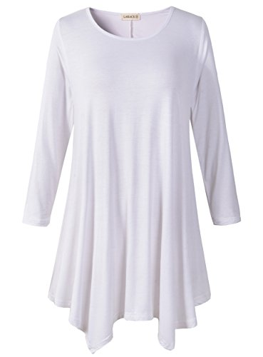 Lanmo Women Plus Size 3/4 Sleeve Tunic Tops Loose Basic Shirt (L, White)