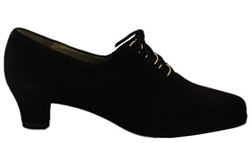 Barbarella Women's Italian 4027 Low Heel Lace Up Shoes Black, Size 37.5