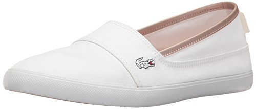 Lacoste Women's Marice Canvas Slip On White Canvas/Gold Rim