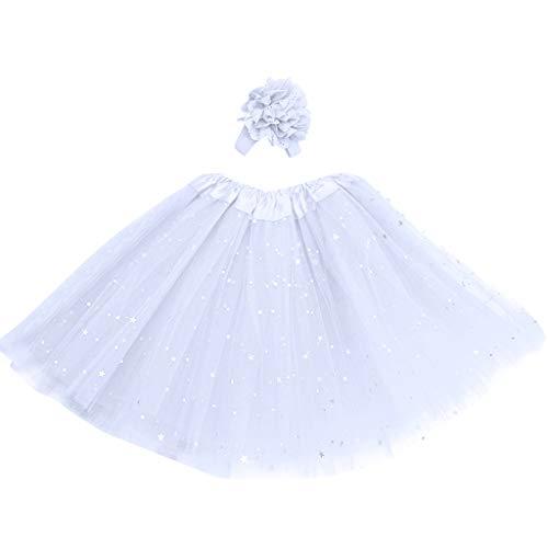 Mysky Kids Girl Tutu Skirt,Fashion Child Girl Sweet Star Paillette Princess Pettiskirt Dancewear+Flower Hair Band White
