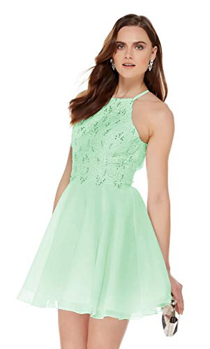 Women's Halter Spaghetti Strap Beaded Chiffon Lace Bridesmaid Dress Short Formal Ball Gown Mint Green Size 12