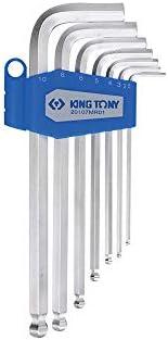 King Tony 20107MR01 - Llave hexagonal largo determinado de la caja de 6 caras con cabeza esférica, métrica, un conjunto de 7: Amazon.es: Bricolaje y herramientas