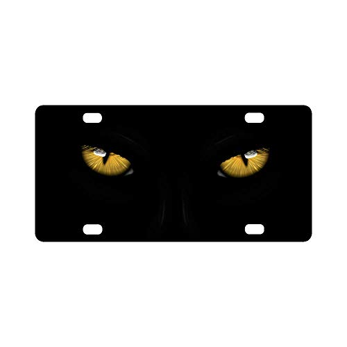 INTERESTPRINT Yellow Eyes Black Panther on Dark Background Halloween Theme Automotive Metal License Plate Cover, Car Tag for Woman Man- 12