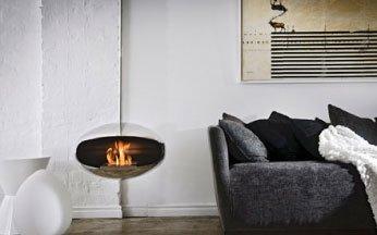 cocoon fires ventless ethanol hanging model aeris stainless steel fireplace - Hanging Fireplace