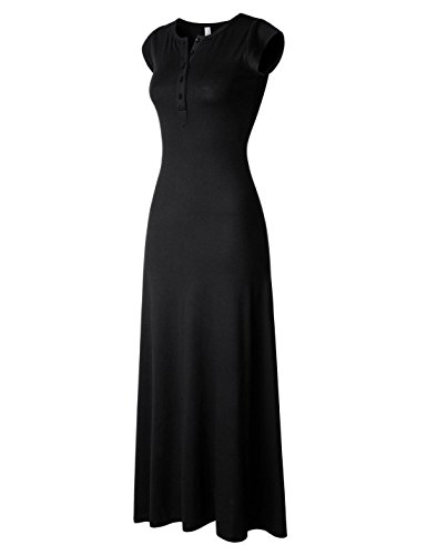 NEARKIN (NKNKWBLD674) Womens Figure Hugging Henley Neck Daily Casual Maxi Dress BLACK XX-Small(Tag size XS)
