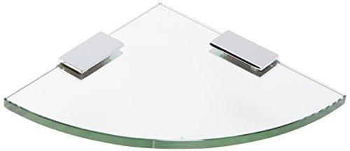 Spancraft Glass Quarter Round Glass Shower Shelf, Chrome Bracket, 2