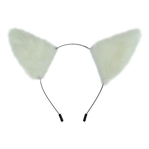 E-TING Cat Fox Long Fur Ears Hair Clip Headwear Headband Cosplay Halloween Costume Orecchiette (White with White Inside)
