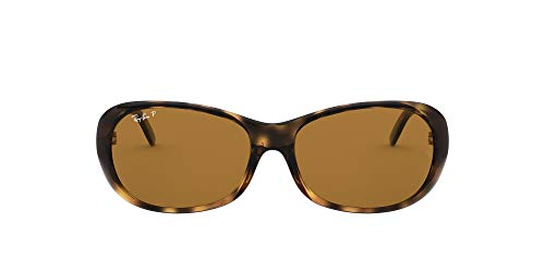 Ray-Ban Women's RB4061 Oval Sunglasses, Havana/Polarized Brown, 55 mm