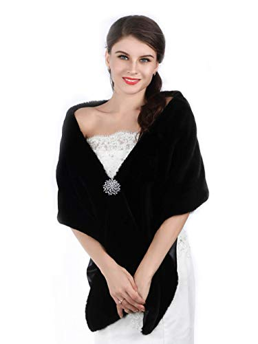 Aukmla Long Wedding Faux Fur Wraps and Shawls Wedding Bridal Stole for Brides and Bridesmaids (Black)