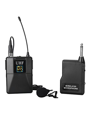 Aokeo V6i Wireless Lavalier Lapel Microphone System UHF Channels with 1 Transmitter,1 Receiver 1/4 Inch Output,1 Lapel Mic. Ideal for teaching, preaching and public speaking events by aokeo