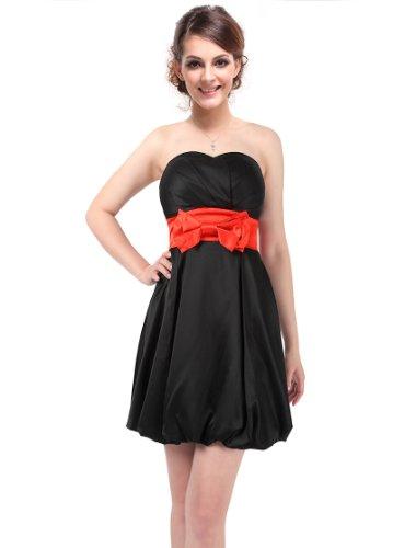 Ever Pretty Strapless Bow Cute Unique Balloon Short Prom Dress 03147, HE03147BK14, Black, 12US