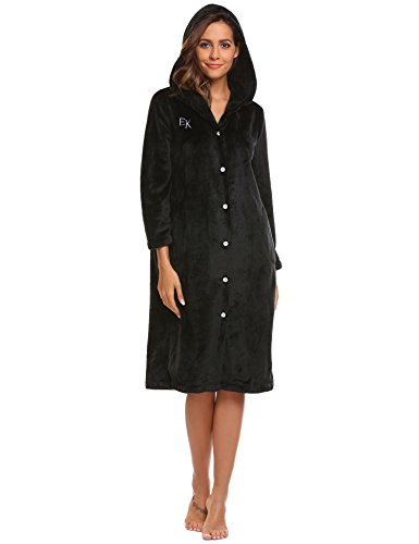 long black fleece dressing gown - 9