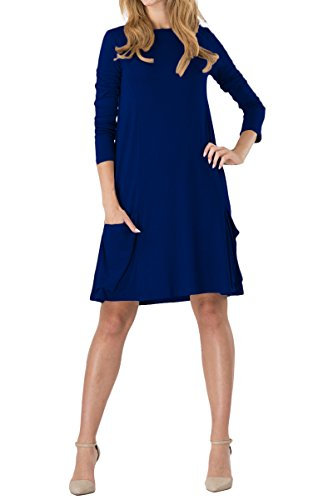Casual De T nbsp;colores Manga Mini Larga Túnica Sin Vestido Xxxxl Mujer Azul Oscuro Yming Redondo Xs Cuello 14 wnHISxz5Aq